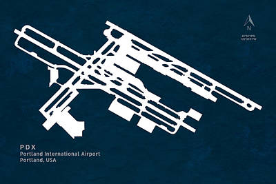Portland Digital Art - Pdx Portland International Airport In Portland Oregon Runway Sil by Jurq Studio