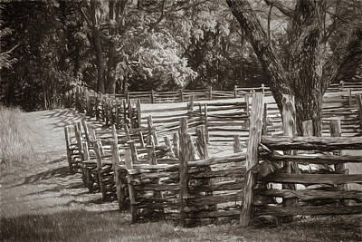Photograph - Pea Ridge Sketch 5 Sepia by James Barber
