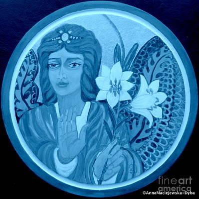Painting - Peace And Blessing Blue Tone by Anna Folkartanna Maciejewska-Dyba