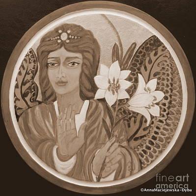 Painting - Peace And Blessing Sepia by Anna Folkartanna Maciejewska-Dyba