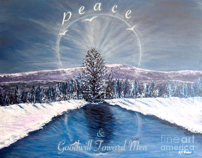 Winter Light Through The Trees Painting - Peace And Goodwill Toward Men With Quote by Kimberlee Baxter