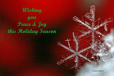 Peace And Joy Christmas Card Two Art Print by Angela Patterson