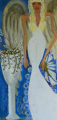 Peace And Love Angel Art Print by Helen Gerro