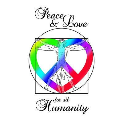 Da Vinci Digital Art - Peace And Love For All Humanity by Az Jackson