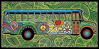 Painting - Peace And Love Hippie Bus by Jim Harris