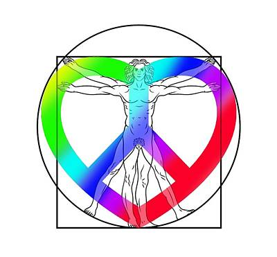 Da Vinci Digital Art - Peace, Love And Hope To Mankind by Az Jackson