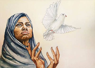 Beautiful Hijabs Painting - Peace by Anna Ingram