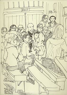 Mic Drawing - Peace Camp Talent Show Crowd by James Christiansen