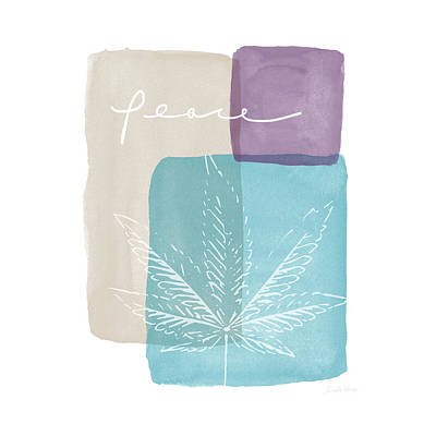 Tote Mixed Media - Peace Cannabis Leaf Watercolor- Art By Linda Woods by Linda Woods