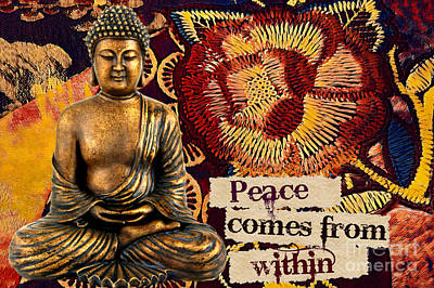 Mixed Media - Peace Comes From Within. Buddha by Lita Kelley