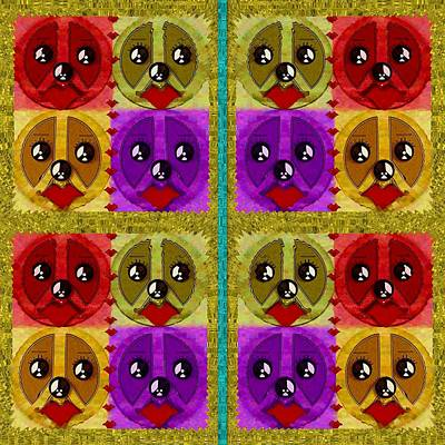 Puppy Mixed Media - Peace Dogs by Pepita Selles