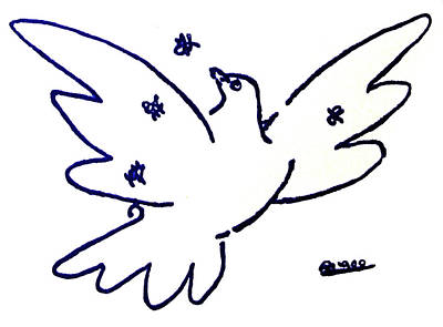 Peace Dove Serigraph In Blue As A Tribute To Pablo Picasso's Lithograph Of Love Bird With Flowers Art Print