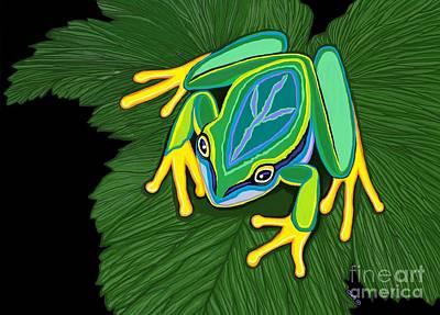 Digital Art - Peace Frog On Leaf by Nick Gustafson