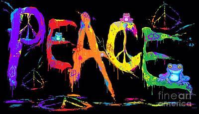 Digital Art - Peace Frogs by Nick Gustafson
