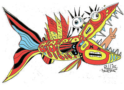 Outsider Digital Art - Peace Funky Folk Fish by Robert Wolverton Jr