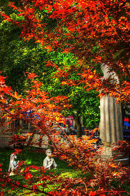 Autumn Scene Photograph - Peace Garden - St Leonard's Church - Boston by Joann Vitali