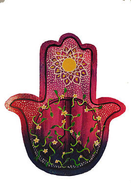 Sara Habecker Folk Print - Peace Hamsa by Patricia Arroyo