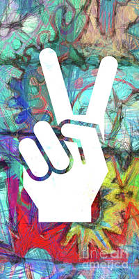 Signed Digital Art - Peace Hand Sign 1  by Edward Fielding