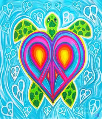 Digital Art - Peace Heart Sea Turtle by Nick Gustafson