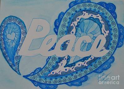 Peace Holiday Card Original by Jeanette Clawson