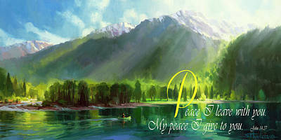 Green Digital Art - Peace I Give You by Steve Henderson