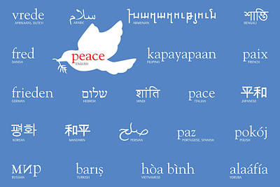 Digital Art - Peace Holiday Card In 22 Languages by Laura Dozor