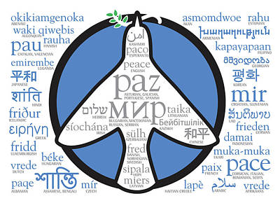 Digital Art - Peace Holiday Card In 45 Languages With Symbols by Laura Dozor