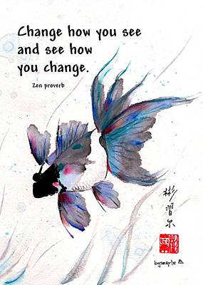 Painting - Peace In Change With Zen Proverb by Bill Searle