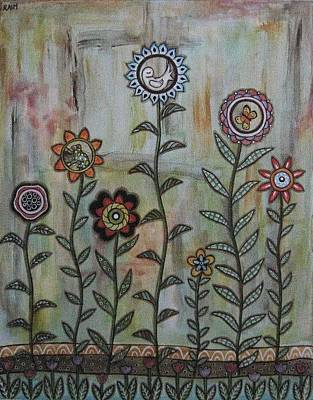Rain Ririn Painting - Peace In The Garden by Rain Ririn