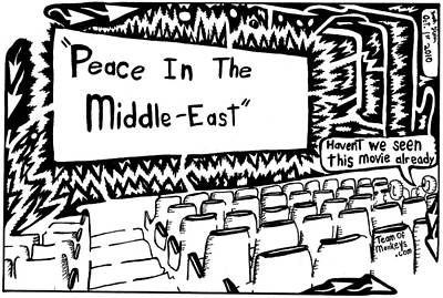 Frimer Drawing - Peace In The Middle-east Rerun Maze Cartoon by Yonatan Frimer Maze Artist