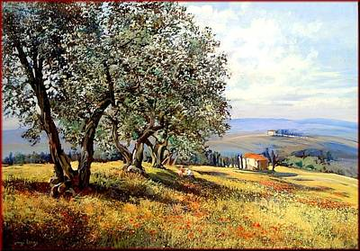 Het Painting - Peace In Tuscany by Landi