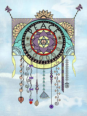 Digital Art - Peace Kite Dangle Illustration Art by Deborah Smith