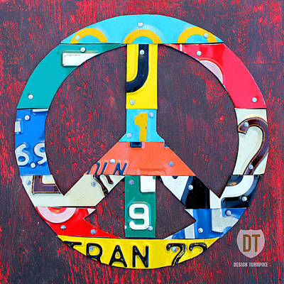 Signed Mixed Media - Peace License Plate Art by Design Turnpike