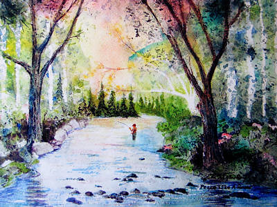 Fisherman In Stream Painting - Peace Like A River by John Wolfersberger