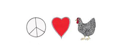 Rosedahl Painting - Peace, Love And Chickens by Sarah Rosedahl