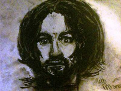 Charles Manson Drawing - Peace Love And Helter Skelter by Nikki Portanova