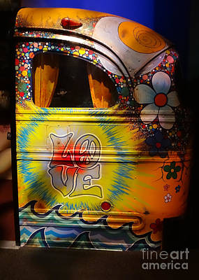 Bus Roll Photograph - Peace, Love And Rock And Roll by Cindy Manero