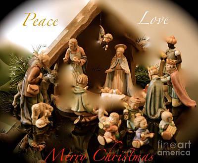 Manger Scene Digital Art - Peace Love Merry Christmas by Karen Francis