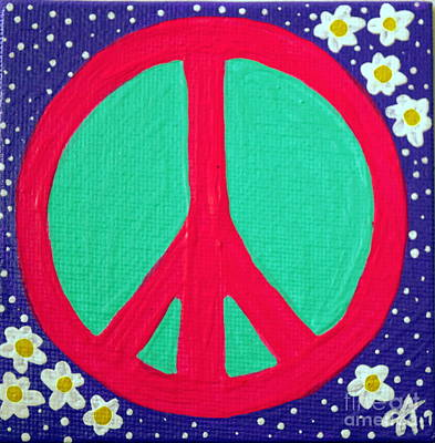 Painting - Peace Love Sign Daisies Flower Hippies Love Pink Purple Yellow Aqua by Jackie Carpenter