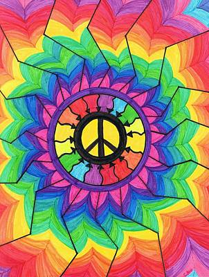 Chakra Rainbow Painting - Peace Mandala by Cheryl Fox