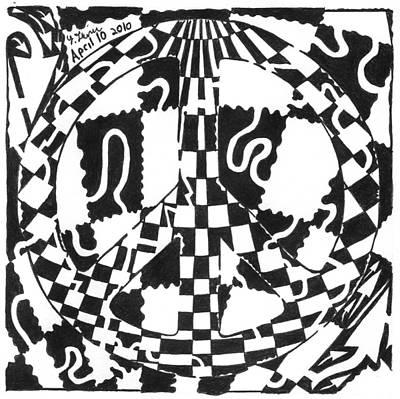 Yfrimer Drawing - Peace Maze by Yonatan Frimer Maze Artist