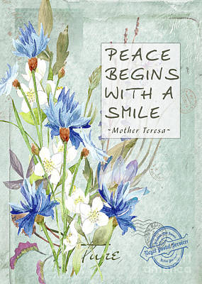 Digital Art - Peace, Mother Teresa by Mary Bellew