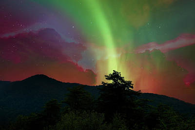 Photograph - Peace Mountain Under Northern Lights by Debra and Dave Vanderlaan