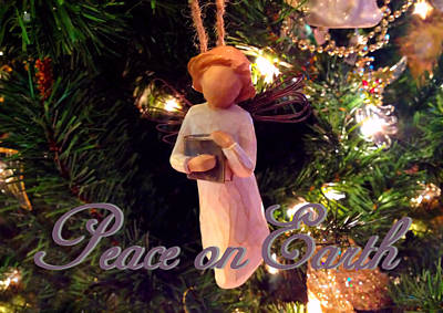 Manger Digital Art - Peace On Earth Angel Christmas Card by Morgan Carter