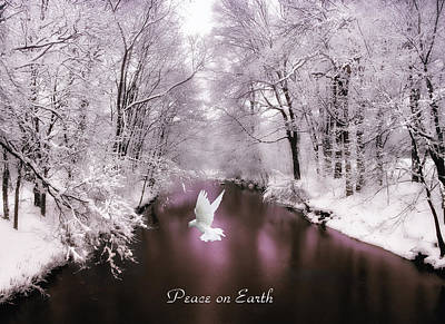 White River Digital Art - Peace On Earth With Text by Jessica Jenney