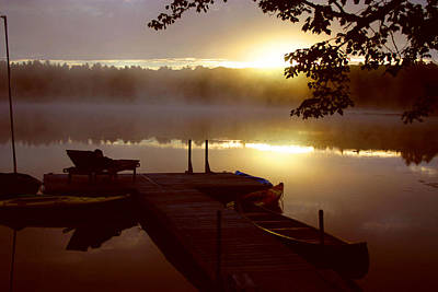 Peace On Lake Art Print by Dennis Curry