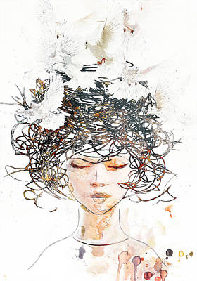 Birds Mixed Media - Peace on my mind by Jacky Gerritsen