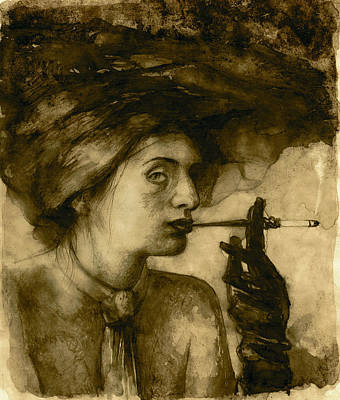 Sepia Ink Drawing - Peace Pipe by Felix Freudzon