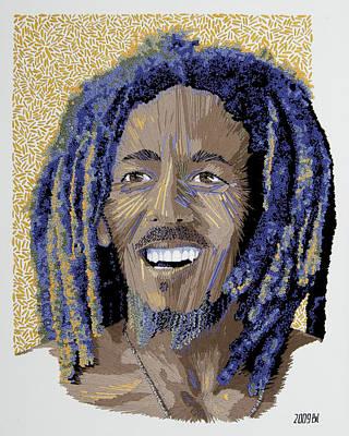 Peace Portrait One Bob Marley Print by Barbara Lugge