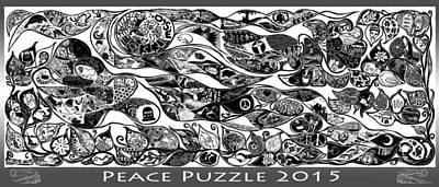Digital Art - Peace Puzzle 2015 by Maria Arango Diener
